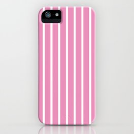 Hot Pink and White Vertical Stripes Pattern iPhone Case