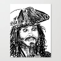 jack sparrow Canvas Prints featuring Jack Sparrow by Brittney Patterson