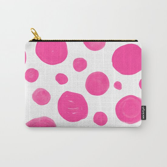 Pink handdrawn dots - Polkadot pattern on white on #Society6 Carry-All Pouch