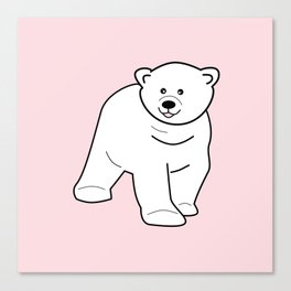 White bear on pink background Canvas Print