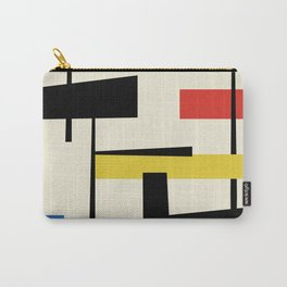 Bauhangular III - Bauhaus Style Minimalist Modern Abstract - Red Blue Yellow Black Carry-All Pouch