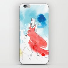 Christmas girl in the snow iPhone & iPod Skin