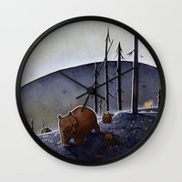 bears Wall Clocks featuring Bears  by Kristin Rian