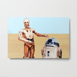 C3PO and R2D2 Pop Art Droid Illustration Sci-fi Film Movie Pop art Home Decor Geeky Poster Nerdy Metal Print