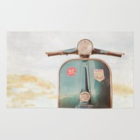 vespa Area & Throw Rugs featuring The Blue Vespa by Hello Twiggs
