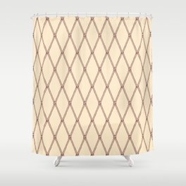 Nautical Fishing Net (Beige and Sepia) Shower Curtain