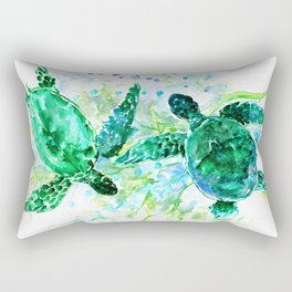Sea Turtles Underwater Scene Turquoise Blue design, bright blue green design Rectangular Pillow