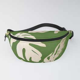 Palm Leaves White Gold Sands on Jungle Green Fanny Pack