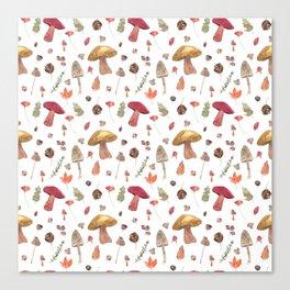 Autumn mushroom pattern Canvas Print