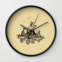 rowing Wall Clocks featuring Viking ship 2 by mangulica