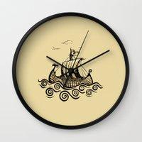 rowing Wall Clocks featuring Viking ship 2 by mangulica illustrations