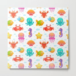 Cute sea animals pattern Metal Print