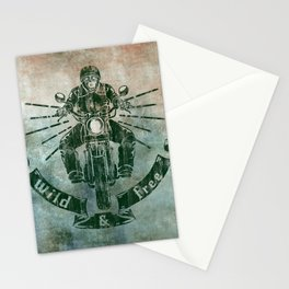 Wild and Free Motorbike Rider Stationery Cards