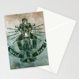 Wild and Free Motorbike Rider Stationery Cards