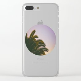 Sunset Purple Palm Tree Circle Photo Clear iPhone Case