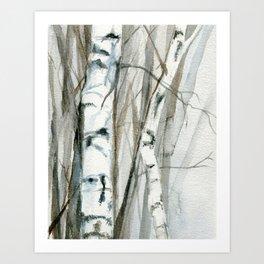 Winter Birch Trees Woodland Watercolor Original Art Print Art Print