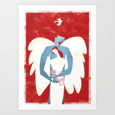 The New Christmas Family in Red Art Print