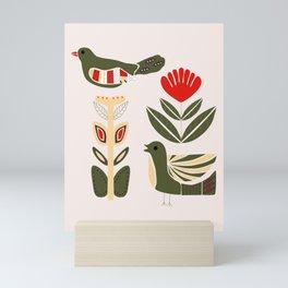 Folk art birds and flowers in a Scandinavian pattern Mini Art Print
