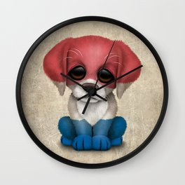 Cute Puppy Dog with flag of The Netherlands Wall Clock