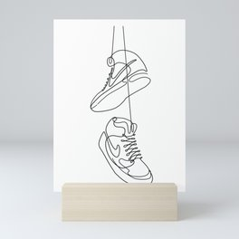 Sneakers simple minimal one line art, hanging shoes branded shoes  Mini Art Print