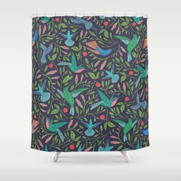 Hummingbirds and Hibiscus Tropical Pattern Shower Curtain
