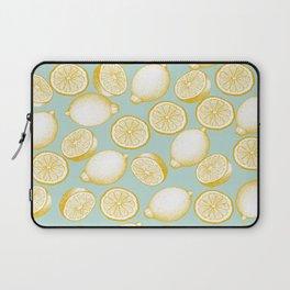 Lemons On Turquoise Background Laptop Sleeve