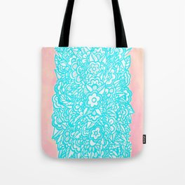 Illustrated Flowers and Leaves - turquoise blue, pink, white Tote Bag