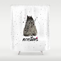 monster Shower Curtains featuring Monster by Ariadna