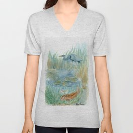 Heron and the Koi Unisex V-Neck