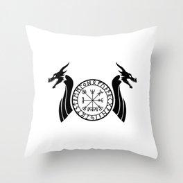 Norse Dragon - Vegvisir Throw Pillow