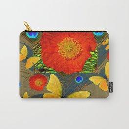 ORANGE POPPY FLOWER & BUTTERFLIES PEACOCK PATTERNS Carry-All Pouch