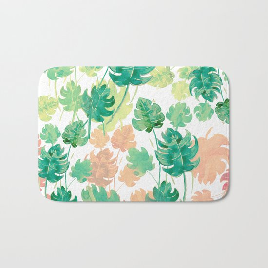 water color smooth leaves Bath Mat