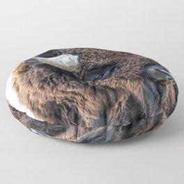 Buffalo the Mighty Beast - In The Presence Of Bison by OLena Art Floor Pillow