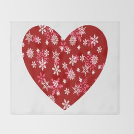 Red Heart Of Snowflakes Loving Winter and Snow Throw Blanket