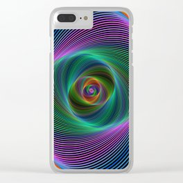 Psychedelic Spiral Stripes Clear iPhone Case