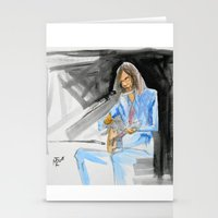 neil young Stationery Cards featuring Neil Young On Guitar by Mark T. Zeilman