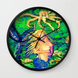 Art sexy nude mermaid octopus garden ladykashmir Wall Clock