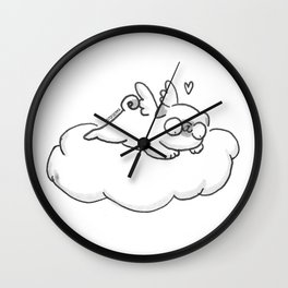 Pug in heaven Wall Clock