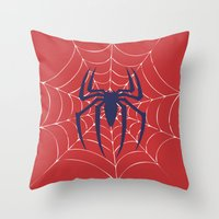 spider Throw Pillows featuring Spider by Vickn