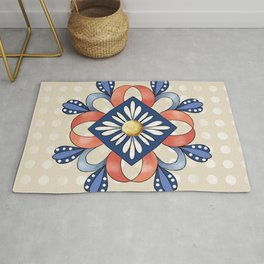Flower and Ribbon Mandala Rug
