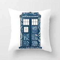 Tardis Blue Throw Pillow