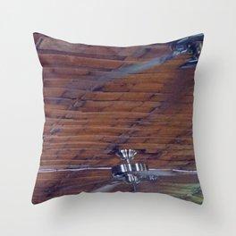 Wood Ceiling, Chrome Fans Throw Pillow