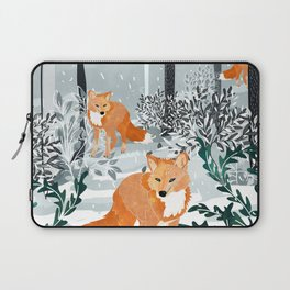 Fox Snow Walk Laptop Sleeve
