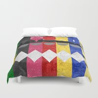 power rangers Duvet Covers featuring Mighty Morphin Power Rangers by Some_Designs