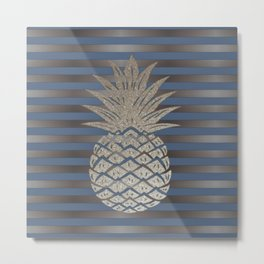 GLITTER PINEAPPLE ON BLUE GRAY STRIPES Metal Print