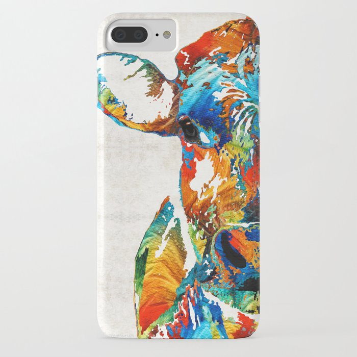 colorful cow art - mootown - by sharon cummings iphone case
