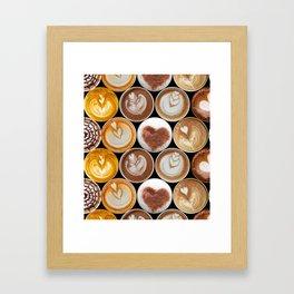Latte Polka Dots in Black Framed Art Print