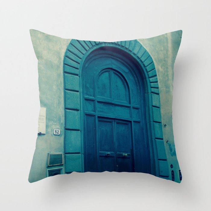 Church Door in Blue Throw Pillow