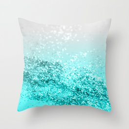 Silver Gray Aqua Teal Ocean Glitter #1 #shiny #decor #art #society6 Throw Pillow