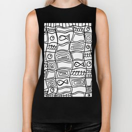 Fishes and Shells - Tribal Style Doodle Biker Tank